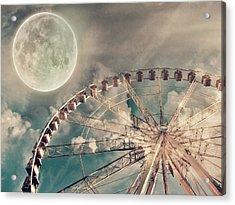 Full Moon And Ferris Wheel Acrylic Print by Marianna Mills