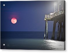 Full Moon At Carolina Beach Pier Acrylic Print by Phil Mancuso