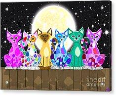 Full Moon Felines Acrylic Print by Nick Gustafson