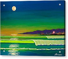 Full Moon On Venice Beach Acrylic Print by Frank Strasser