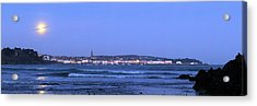 Full Moon Over Coastal Town Acrylic Print by Laurent Laveder