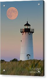 Full Moon Over Edgartown Lighthouse Acrylic Print by Katherine Gendreau