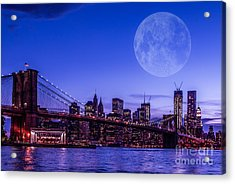 Full Moon Over Manhattan II Acrylic Print by Hannes Cmarits
