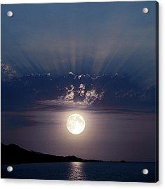 Full Moon Over The Sea Acrylic Print by Detlev Van Ravenswaay