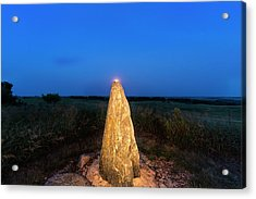 Full Moon Rises Over Standing Rock Acrylic Print by Chuck Haney