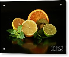 Fun With Citrus And Kiwi Fruit Acrylic Print by Inspired Nature Photography Fine Art Photography