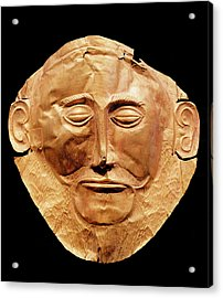 Funerary Mask From Mycenae, Formerly Thought To Be That Of Agamemnon Gold Acrylic Print by Mycenaean