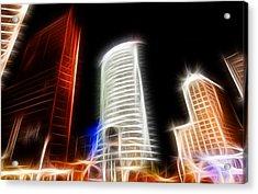 Futuristic Buildings In Berlin Potsdamer Platz Digital Art Acrylic Print by Matthias Hauser