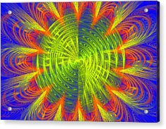 Futuristic Disc Blue Red And Yellow Fractal Flame Acrylic Print by Keith Webber Jr