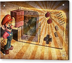 Game Boy And Mario - Vintage Acrylic Print by Stefano Senise