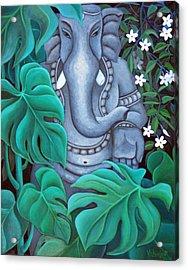 Ganesh With Jasmine Flowers 2 Acrylic Print by Vishwajyoti Mohrhoff
