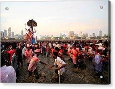 Ganesha's Final Procession Acrylic Print by Money Sharma