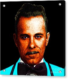 Gangman Style - John Dillinger 13225 - Black - Color Sketch Style Acrylic Print by Wingsdomain Art and Photography