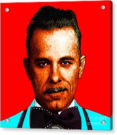 Gangman Style - John Dillinger 13225 - Red - Color Sketch Style Acrylic Print by Wingsdomain Art and Photography