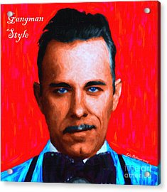 Gangman Style - John Dillinger 13225 - Red - Painterly - With Text Acrylic Print by Wingsdomain Art and Photography