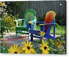 Garden Chairs Acrylic Print by First Star Art