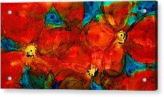 Garden Spirits - Vibrant Red Flowers By Sharon Cummings Acrylic Print by Sharon Cummings