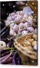 Garlic At The Market Acrylic Print by Heather Applegate