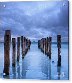 Gathering Storm Clouds Over Old Jetty Acrylic Print by Colin and Linda McKie