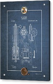 Gatling Machine Gun - Vintage Patent Blueprint Acrylic Print by Serge Averbukh