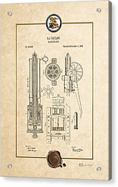 Gatling Machine Gun - Vintage Patent Document Acrylic Print by Serge Averbukh