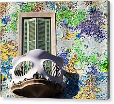 Gaudis Skull Balcony And Mosaic Walls Acrylic Print by Rene Triay Photography