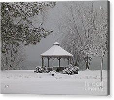 Gazebo In Winter Acrylic Print by Avis  Noelle