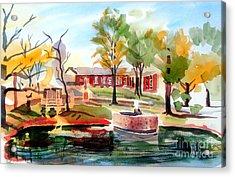 Gazebo Pond And Duck II Acrylic Print by Kip DeVore