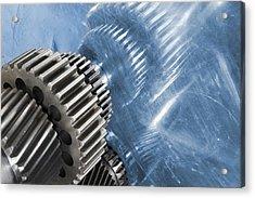 Gears Industrial Engineering In Blue Acrylic Print by Christian Lagereek