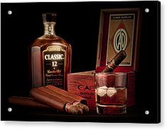 Gentlemen's Club Still Life Acrylic Print by Tom Mc Nemar