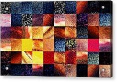 Geometric Abstract Design Sunrise Squares Acrylic Print by Irina Sztukowski