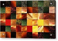 Geometric Abstract Design Sunset Squares Acrylic Print by Irina Sztukowski