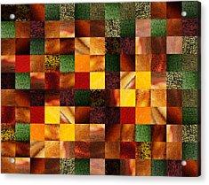 Geometric Abstract Quilted Meadow Acrylic Print by Irina Sztukowski