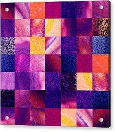 Geometric Design Squares Pattern Abstract V  Acrylic Print by Irina Sztukowski