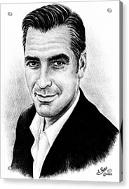 George Clooney Acrylic Print by Andrew Read
