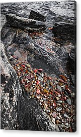 Georgian Bay Rocks Abstract I Acrylic Print by Elena Elisseeva