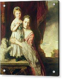 Georgiana, Countess Spencer With Lady Georgiana Spencer, 1759-61 Oil On Canvas Acrylic Print by Sir Joshua Reynolds