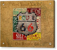 Get Your Kicks On Route 66 Vintage License Plate Art On Worn United States Highway Map Acrylic Print by Design Turnpike