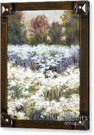 Getting Lost With Frame And Gold Leaf By Vic Mastis Acrylic Print by Vic  Mastis