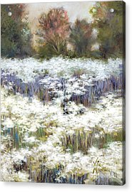 Getting Lost With Gold Leaf By Vic Mastis Acrylic Print by Vic  Mastis