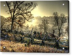 Gettysburg At Rest - Sunrise Over Northern Portion Of Little Round Top Acrylic Print by Michael Mazaika