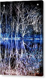Ghostly Trees In Reflection Acrylic Print by ImagesAsArt Photos And Graphics