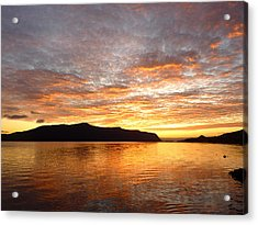 Gilded Fjord While The Sun Set Over Norwegian Mountains Acrylic Print by David Schoenheit