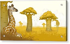 Giraffe And Savanna Acrylic Print by Catherine Noel