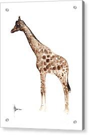 Giraffe Watercolor Art Print Painting African Animals Poster Acrylic Print by Joanna Szmerdt
