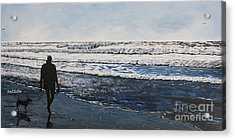 Girl And Dog Walking On The Beach Acrylic Print by Ian Donley