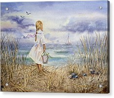 Girl At The Ocean Acrylic Print by Irina Sztukowski