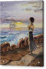 Girl And The Ocean Sailing Ship Acrylic Print by Irina Sztukowski