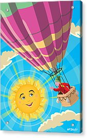 Girl In A Balloon Greeting A Happy Sun Acrylic Print by Martin Davey