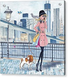 Girl In New York Acrylic Print by Caroline Bonne-Muller